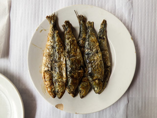 Grilled sardines on a white plate