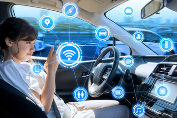 car interior and wireless communication network. Internet of Things. Information Communication Technology. abstract concept.