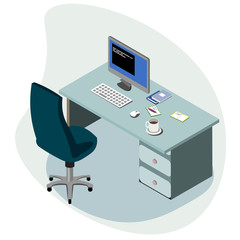 Workplace concept isometric.