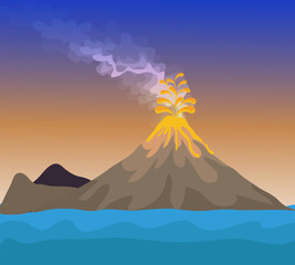 Vector - Volcano eruption with hot lava illustration