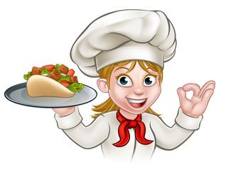 Cartoon Woman Kebab Chef