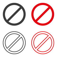 Set of prohibition signs. Vector.
