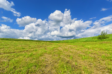 Blue sky with clouds over the hay on the meadow