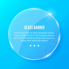 Glass banner realistic vector illustration