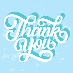 Thank you hand lettering, retro calligraphy with 3d shadow on blue background. Vector illustration.