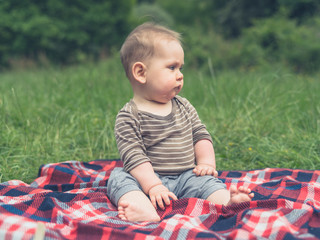 Cute little baby in nature on picnic blanket
