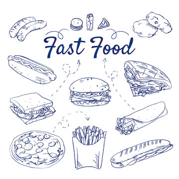 Doodle set of fast food - burger, wrap, fajita, chicken nuggets, kebab, fries, hotdog, pizza, sandwich, tortilla, panini, hand-drawn. Vector sketch illustration, icons isolated over white background.