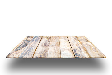 Old wooden plank shelves and white background,For product display,clipping path.