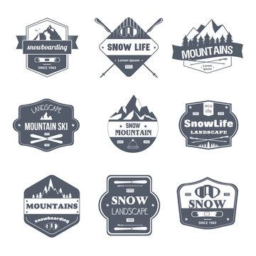 Winter Sport - vintage vector set of logos