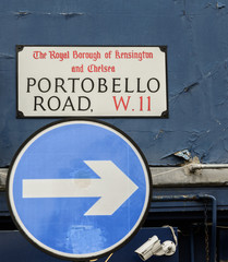 Portobello Road street sign. a popular street in London hosting a weekly antiques market