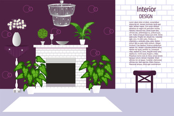 The interior of the living room. Cozy room with a fireplace, lots of indoor plants, beautiful chandelier. Cartoon. Vector illustration.