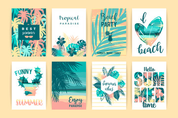 Set of summer tropical designs. Vector templates.