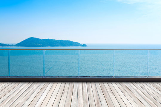 Outdoor balcony deck and beautiful sea view.