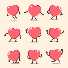 Cartoon heart character poses set