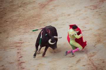 Bullfighting. Corrida in Pamplona, Navarra, Spain, 10 of july 2016. Meal'n'Real