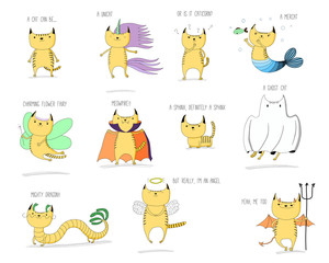 Hand drawn vector doodles of cute cats mythical creatures - unicorn, mermaid, fairy, vampire, sphinx, ghost, dragon, angel and devil, with text