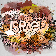 Cartoon cute doodles hand drawn Israel inscription