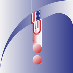 The Hanging American Flag. Minimalistic abstract picture in the form of a square.