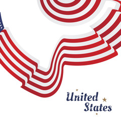 American flag of beautiful shape. Flat vector illustration EPS 10