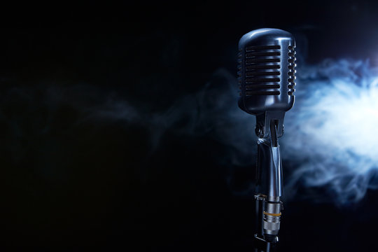Vocal microphone on stage.