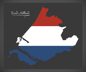 Zuid-Holland Netherlands map with Dutch national flag illustration