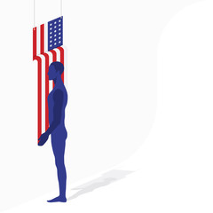 American flag of beautiful shape and silhouette of a man in a room. Flat vector illustration EPS 10