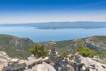 Croatia Brac vidova gora viewpoint stone stack