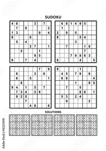 image regarding Printable Sudoku 6 Per Page called 4 sudoku puzzles of delicate (uncomplicated, however not Quite straightforward