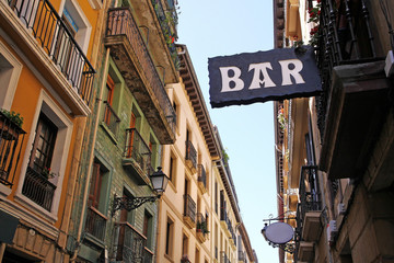 typical bar sign in the old town of donostia