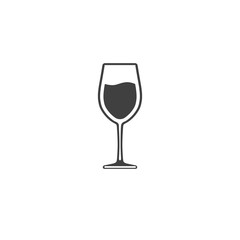 Wine in a glass vector icon isolated on white background