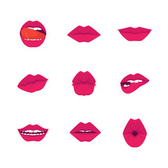 Cartoon Red Lips Icons Set. Vector