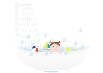 Little cute girl taking a bath