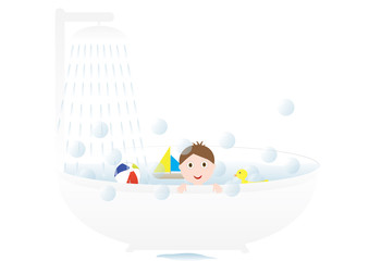 Little cute boy taking a bath