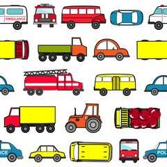 Cute seamless background with cartoon cars. Transport pattern
