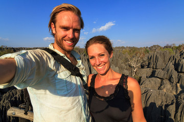 Selfie of two tourists at the Tsingy de Bemaraha Strict Nature Reserve in Madagascar