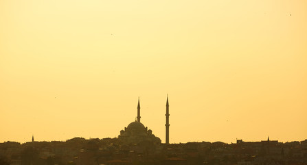 Silhouette of a mosque on a background of mountains. Background