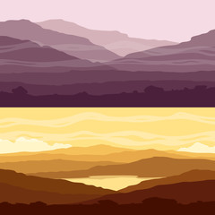 Set of mountain landscapes. Yellow and purple backgrounds with mountain ranges at sunset. Vector illustration.