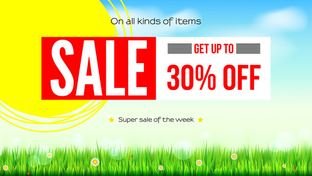 Summer selling ad banner, vintage text design. Thirty percent discounts, sale background with yellow sun, green field, white clouds and blue sky. Template for shopping, advertising.