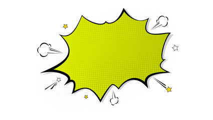 Pop art splash background, explosion in comics book style, blank layout template with halftone dots, cloud and beams isolated dots pattern on white backdrop. Vector template for ad, covers, posters.