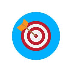 Arrow hitting target flat icon. Round colorful button, Bullseye circular vector sign, logo illustration. Flat style design