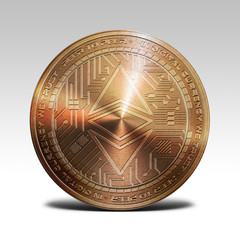 copper ethereum classic coin isolated on white background 3d rendering