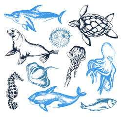 Sea Creatures - illustration of vector vintage composition