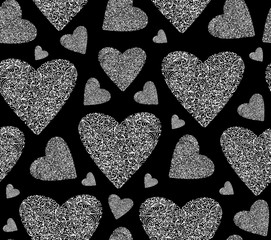 Beautiful Valentine's vector seamless pattern with hand drawn lacy ornamental figured hearts