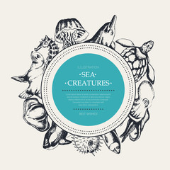 Sea Creatures - modern drawn round banner template.