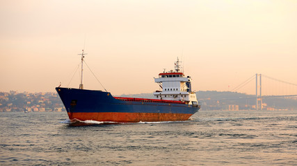 A cargo ship in the Bosphorus, Istanbul, Turkey.