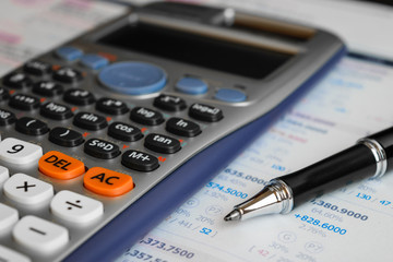 close up advance calculator for engineer or business on the finance/math paper.