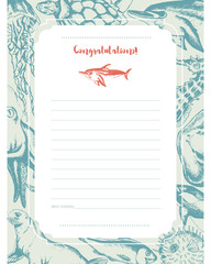 Sea Creatures - hand drawn template card.