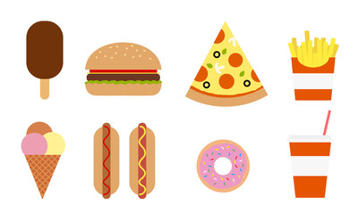 Colorful vector set of different fast food, isolated on white background