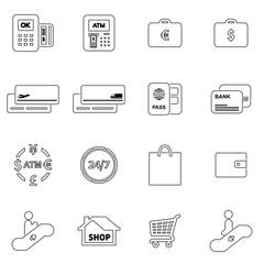 Money and finance icon set flat vector illustration