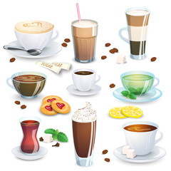 Set of non-alcoholic beverages - tea, herbal tea, hot chocolate, latte, mate, coffee, and small additions for hot drinks. Vector illustration, isolated on white.